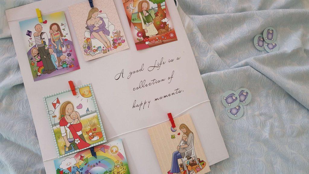 Draagkaarten Wendysign met afbeeldingen van draagdoeken, ringslings en borstvoeding
