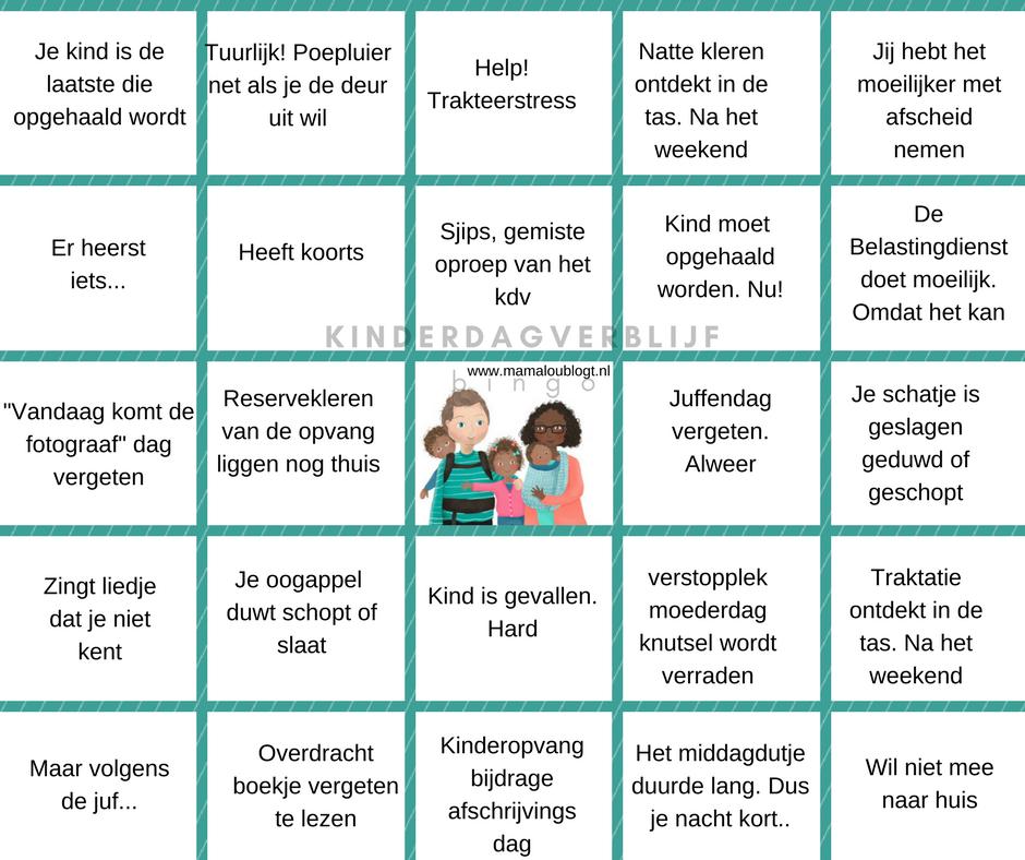 als je kind naar het kinderdagverblijf gaat bingo